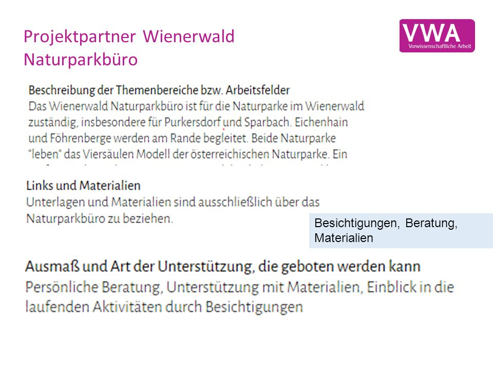 Projektpartner Wienerwald Naturparkbüro