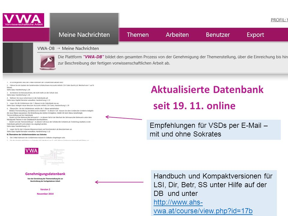 Aktualisierte Datenbank seit 19. 11. online