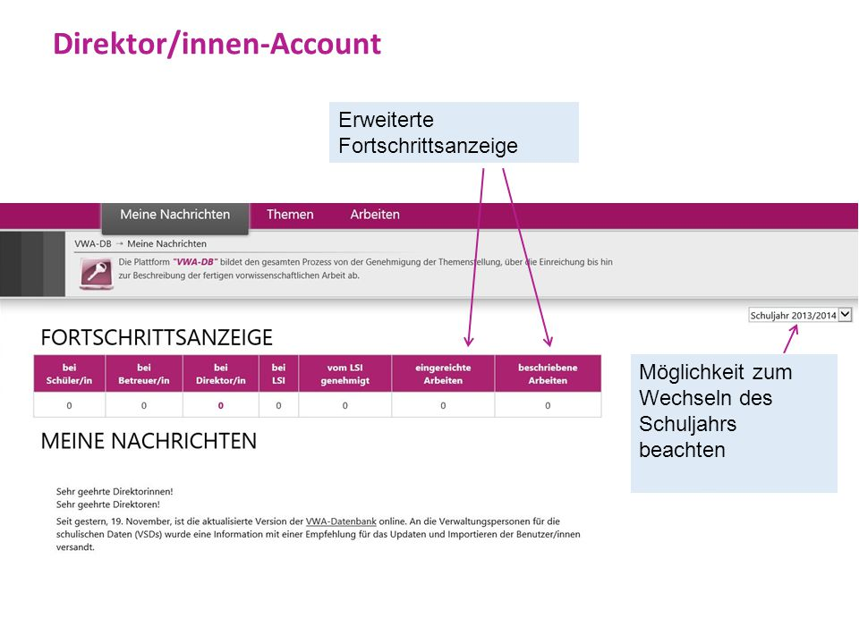 Direktor/innen-Account