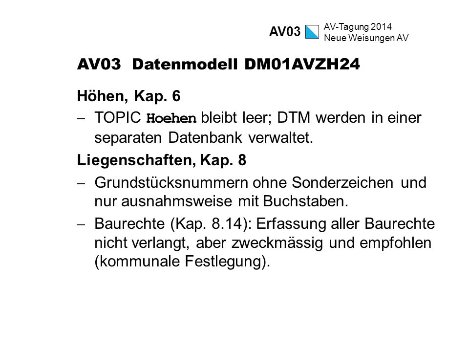 AV03 Datenmodell DM01AVZH24 Höhen, Kap. 6