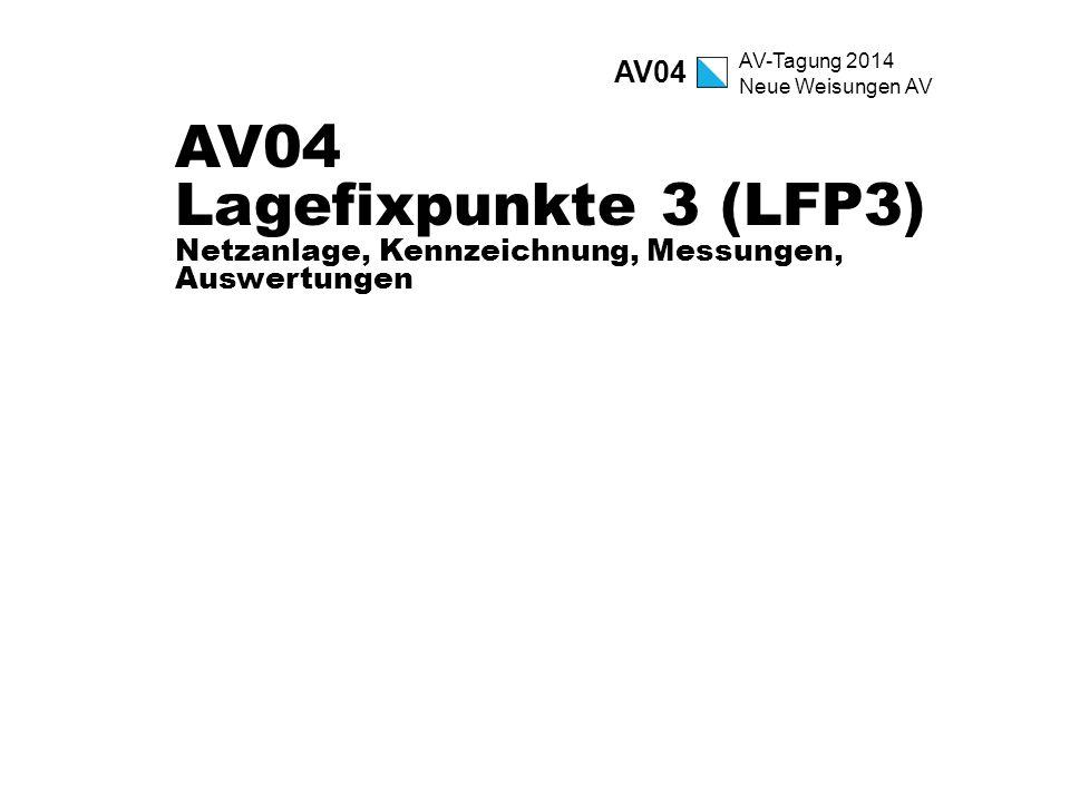 AV04 AV04 Lagefixpunkte 3 (LFP3) Netzanlage, Kennzeichnung, Messungen, Auswertungen