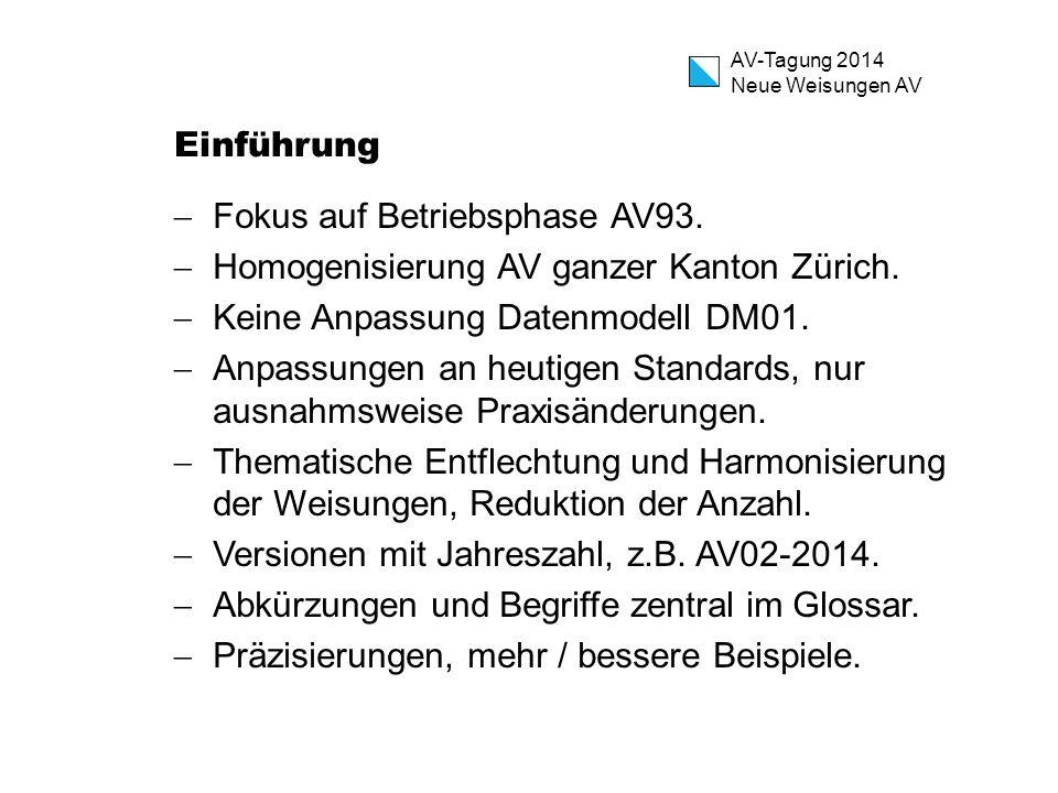 Einführung Fokus auf Betriebsphase AV93. Homogenisierung AV ganzer Kanton Zürich. Keine Anpassung Datenmodell DM01.