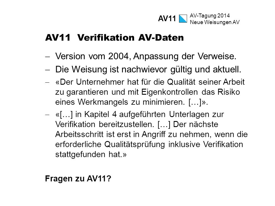 AV11 Verifikation AV-Daten