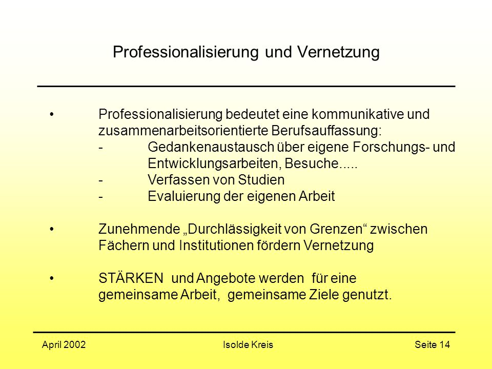 Professionalisierung und Vernetzung