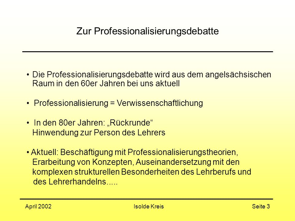Zur Professionalisierungsdebatte