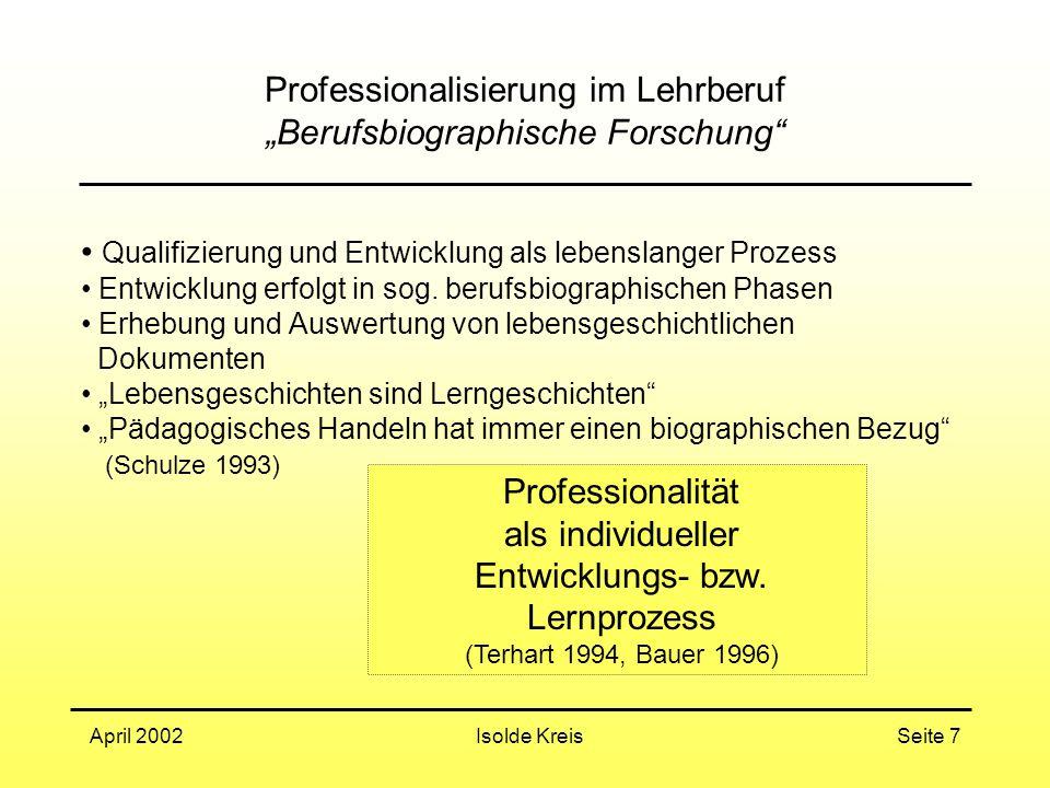"""Professionalisierung im Lehrberuf """"Berufsbiographische Forschung"""
