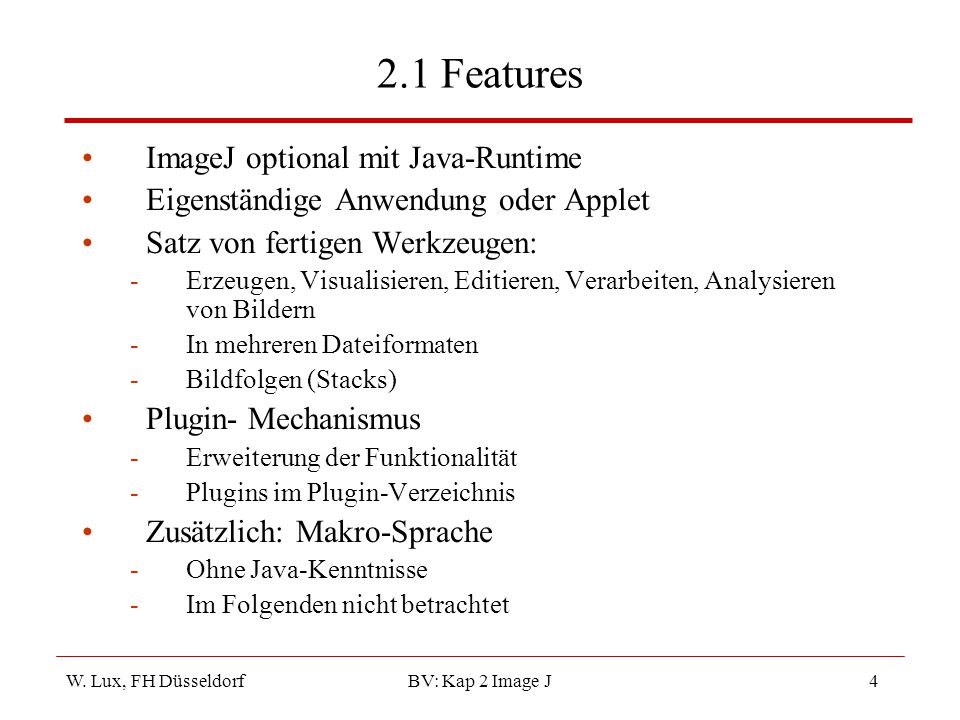 2.1 Features ImageJ optional mit Java-Runtime