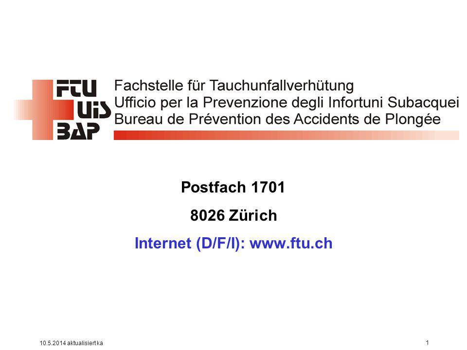 Postfach 1701 8026 Zürich Internet (D/F/I): www.ftu.ch