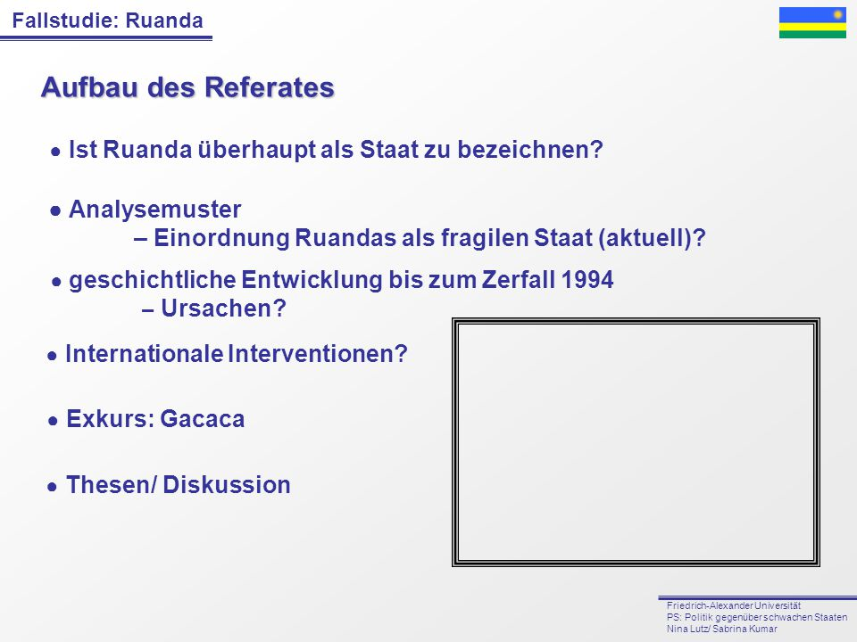 Aufbau des Referates ● Analysemuster