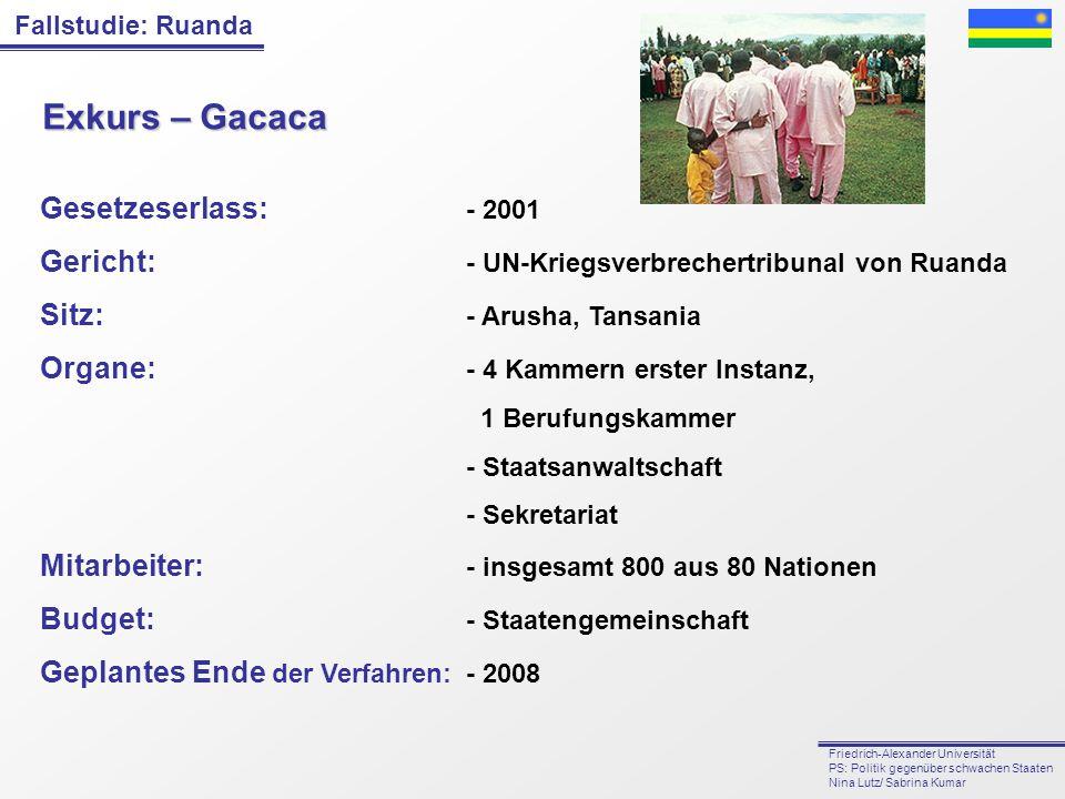 Exkurs – Gacaca Gesetzeserlass: - 2001