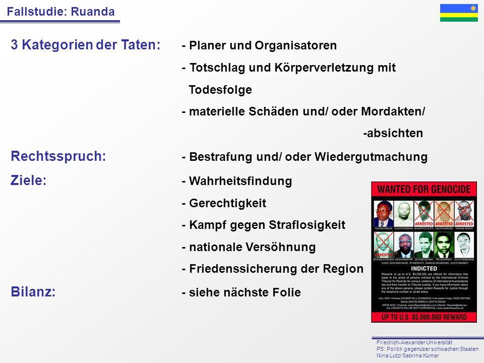3 Kategorien der Taten: - Planer und Organisatoren