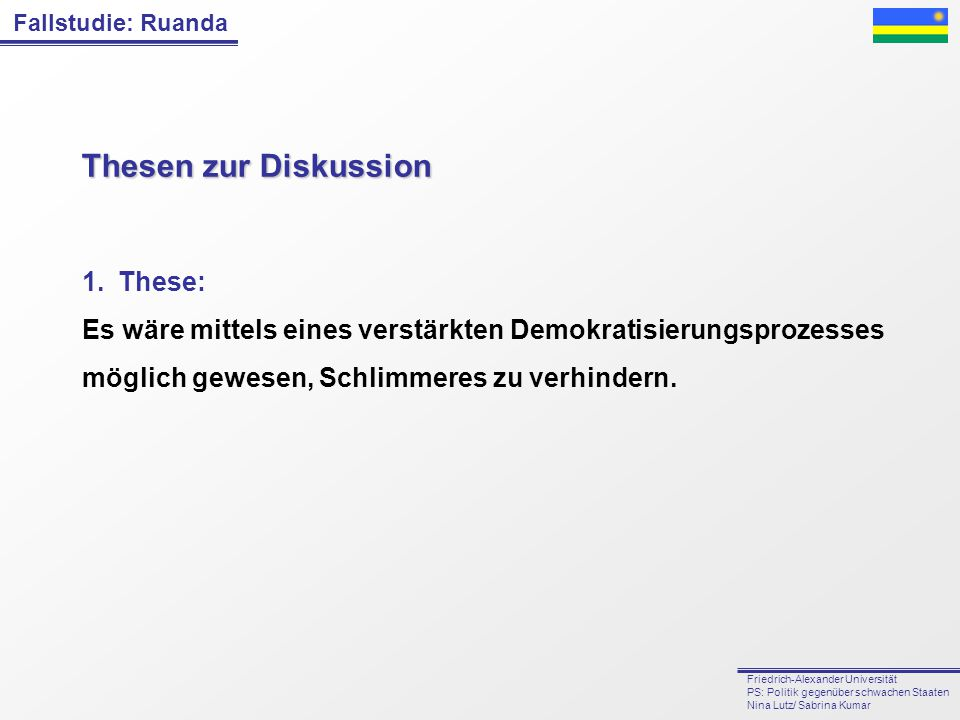 Thesen zur Diskussion These: