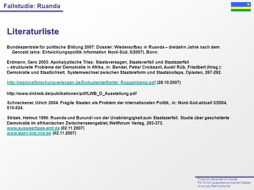 Literaturliste Bundeszentrale für politische Bildung 2007: Dossier: Wiederaufbau in Ruanda – dreizehn Jahre nach dem.