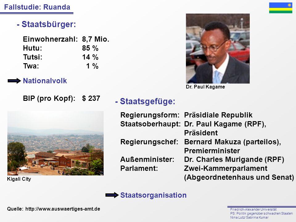 - Staatsbürger: - Staatsgefüge: Einwohnerzahl: 8,7 Mio. Hutu: 85 %