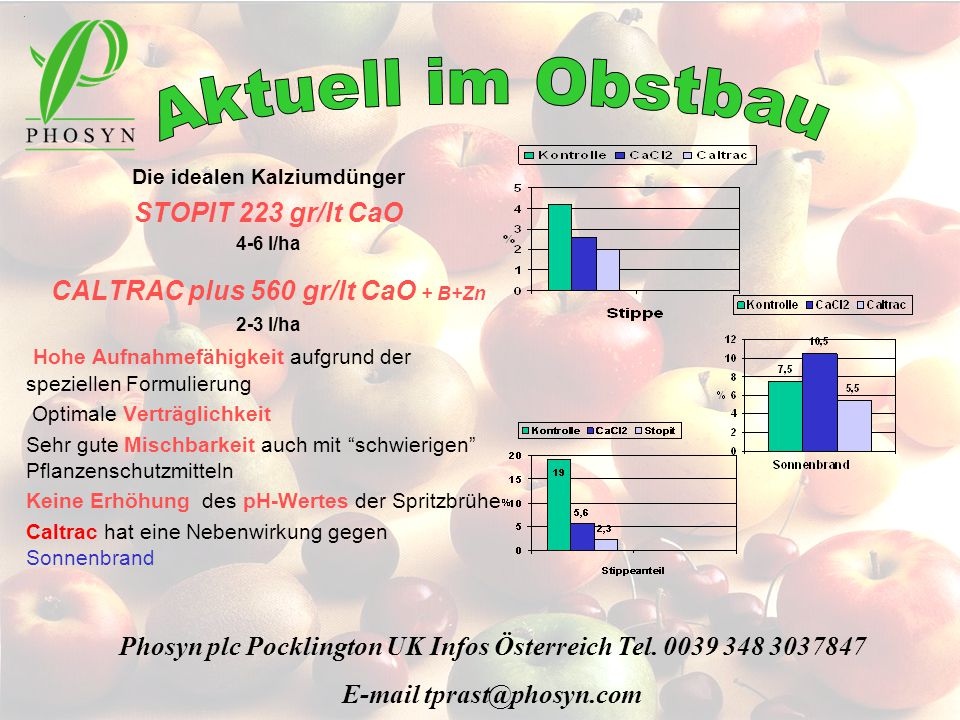 Aktuell im Obstbau STOPIT 223 gr/lt CaO