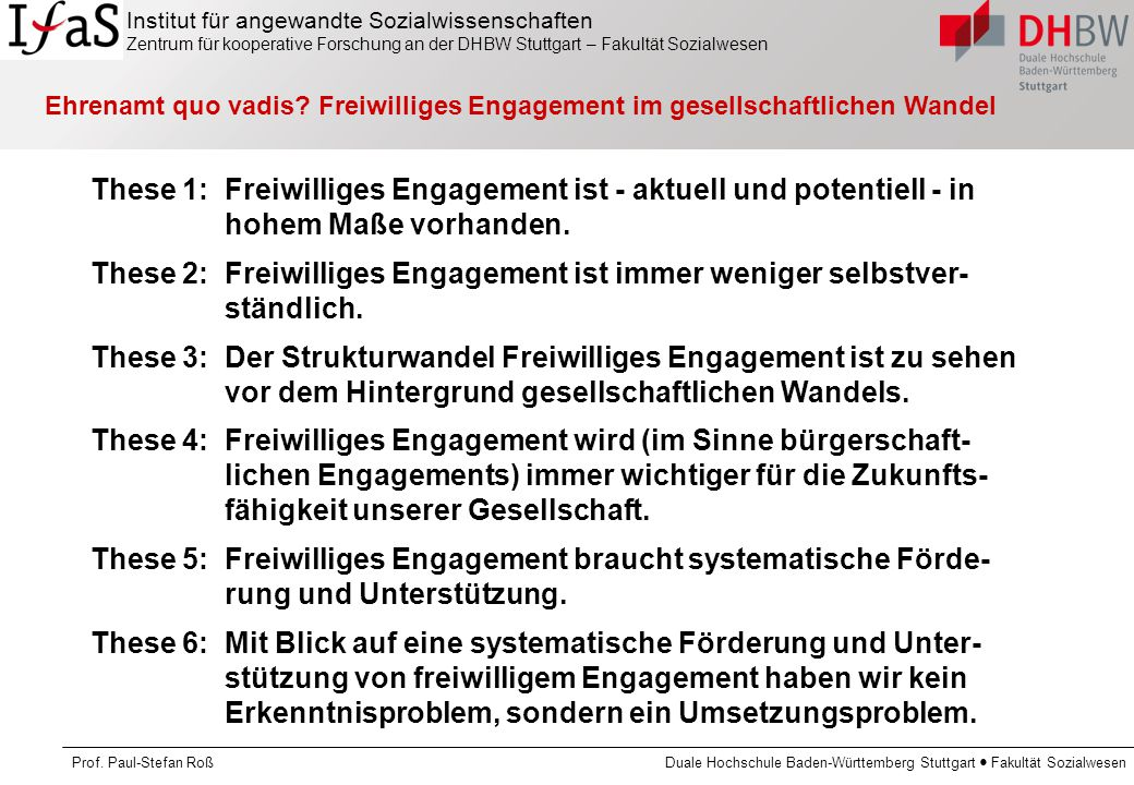 Ehrenamt quo vadis Freiwilliges Engagement im gesellschaftlichen Wandel