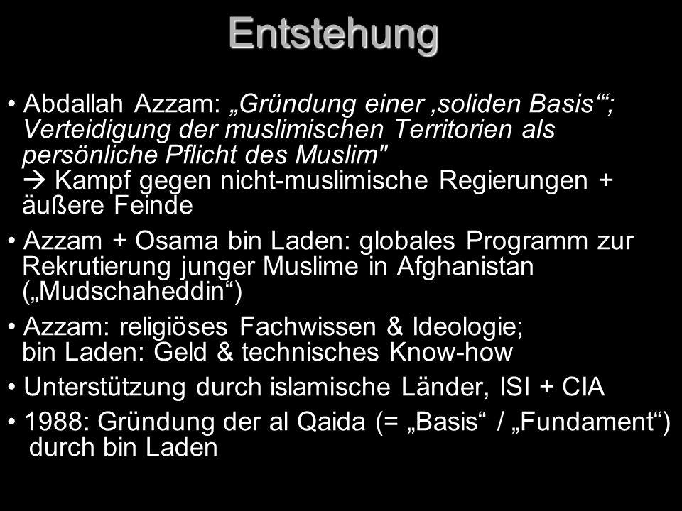"Entstehung Abdallah Azzam: ""Gründung einer 'soliden Basis' ;"