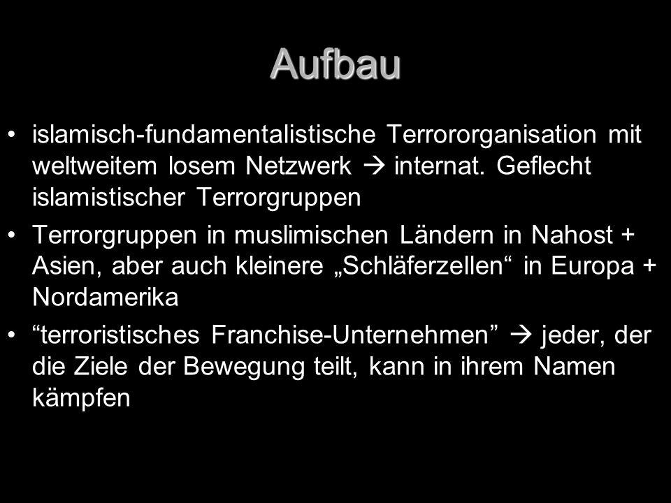 Aufbau islamisch-fundamentalistische Terrororganisation mit weltweitem losem Netzwerk  internat. Geflecht islamistischer Terrorgruppen.