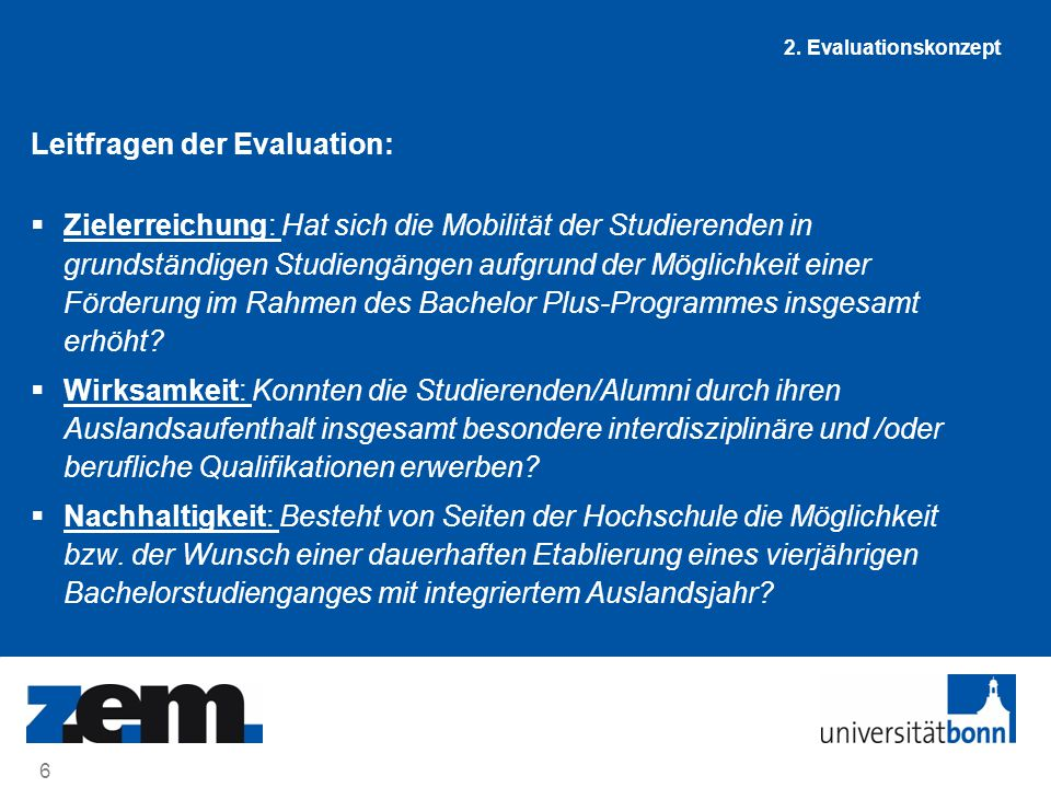 Leitfragen der Evaluation: