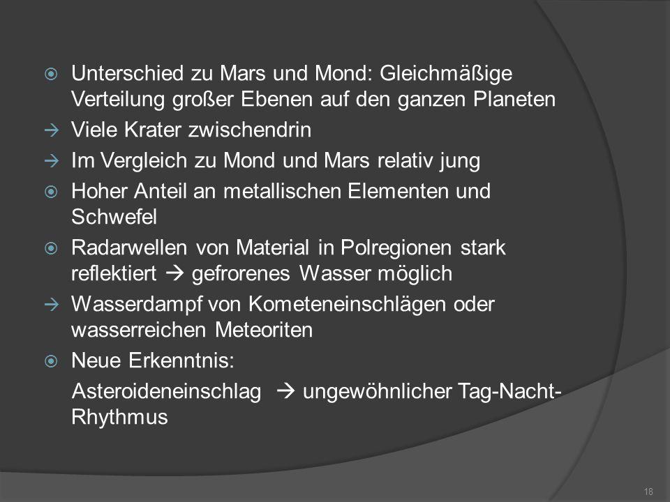 Unterschied zu Mars und Mond: Gleichmäßige Verteilung großer Ebenen auf den ganzen Planeten