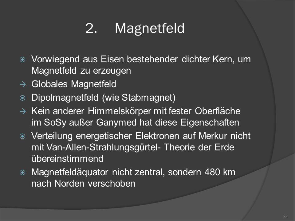 Magnetfeld Vorwiegend aus Eisen bestehender dichter Kern, um Magnetfeld zu erzeugen. Globales Magnetfeld.
