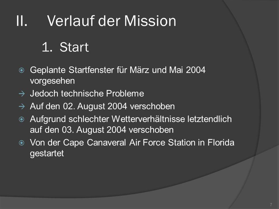 Verlauf der Mission Start