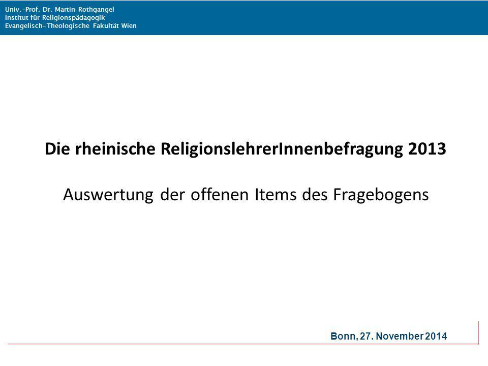 Die rheinische ReligionslehrerInnenbefragung 2013