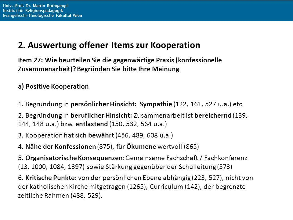 2. Auswertung offener Items zur Kooperation