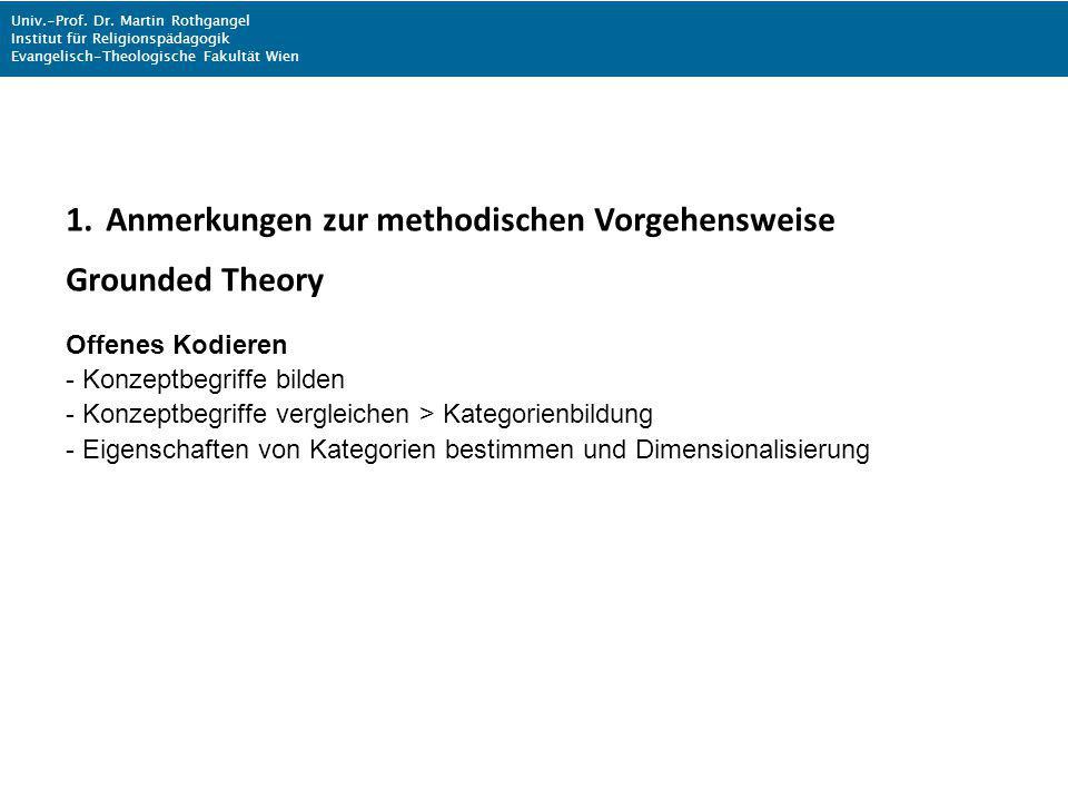 Anmerkungen zur methodischen Vorgehensweise Grounded Theory