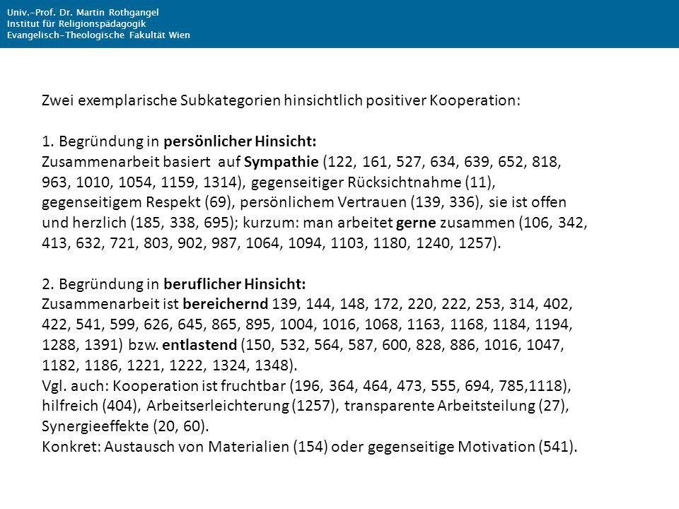 Zwei exemplarische Subkategorien hinsichtlich positiver Kooperation: