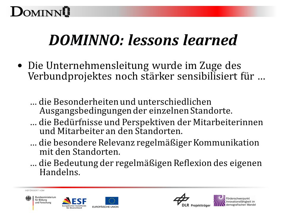 DOMINNO: lessons learned