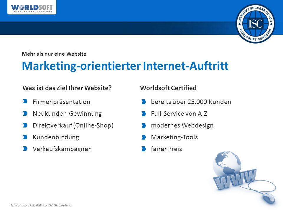 Marketing-orientierter Internet-Auftritt