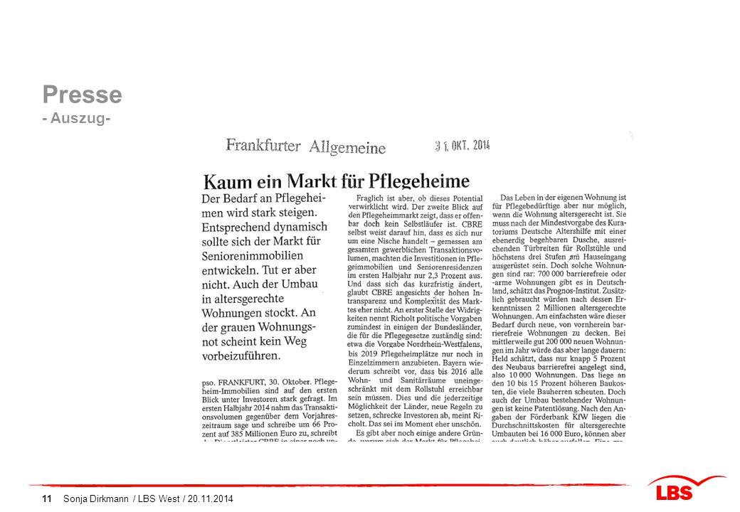 Presse - Auszug- Sonja Dirkmann / LBS West / 20.11.2014