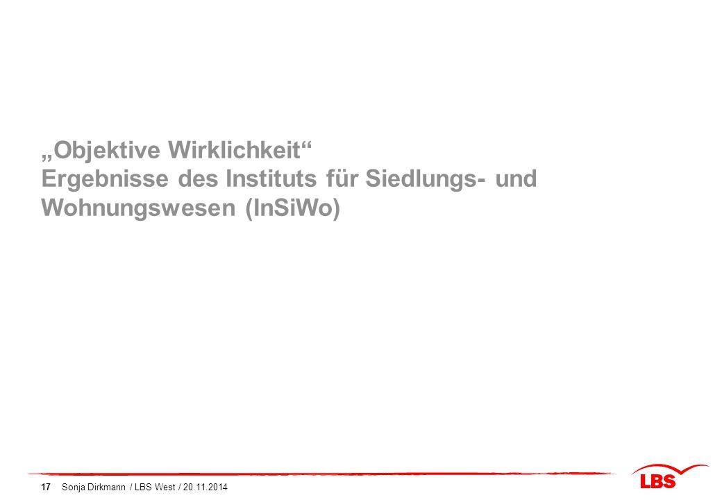 """""""Objektive Wirklichkeit Ergebnisse des Instituts für Siedlungs- und Wohnungswesen (InSiWo)"""