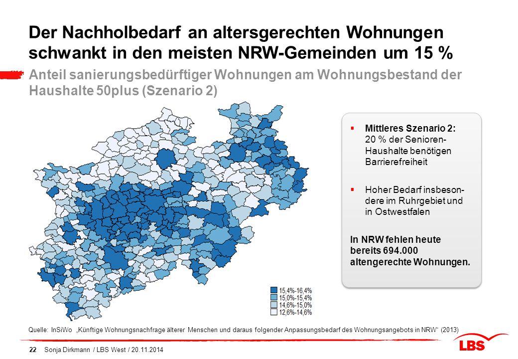 Der Nachholbedarf an altersgerechten Wohnungen schwankt in den meisten NRW-Gemeinden um 15 %