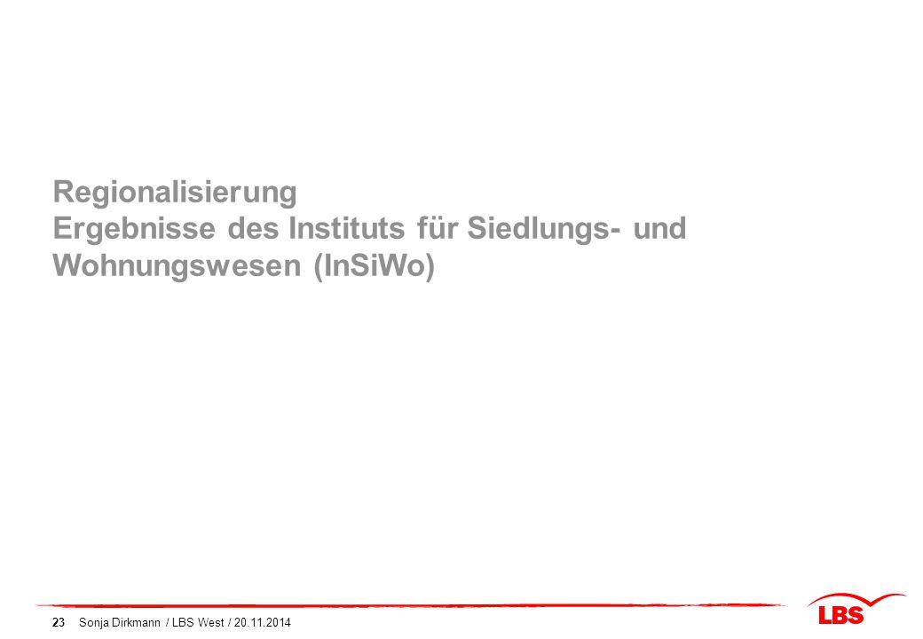 Regionalisierung Ergebnisse des Instituts für Siedlungs- und Wohnungswesen (InSiWo)