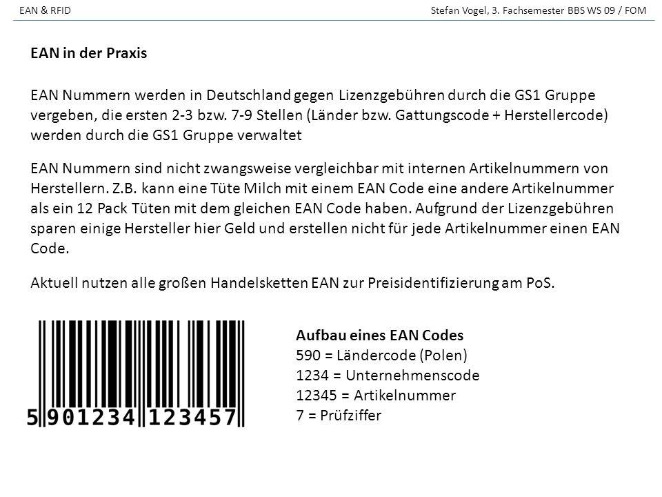 EAN & RFID Stefan Vogel, 3. Fachsemester BBS WS 09 / FOM