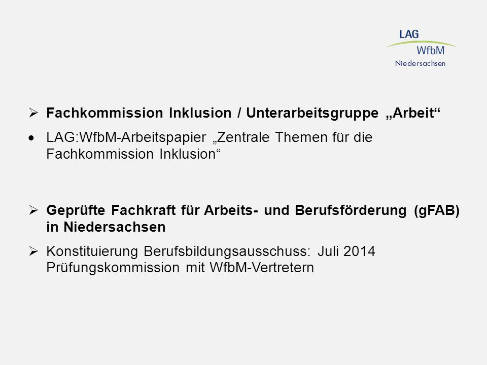 """Fachkommission Inklusion / Unterarbeitsgruppe """"Arbeit"""