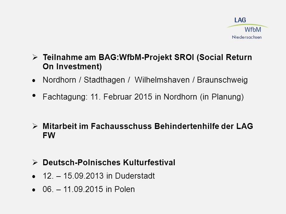 Teilnahme am BAG:WfbM-Projekt SROI (Social Return On Investment)