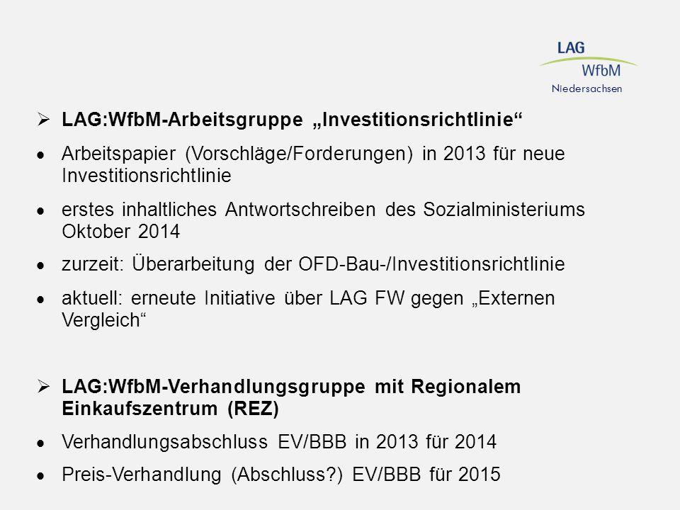 """LAG:WfbM-Arbeitsgruppe """"Investitionsrichtlinie"""