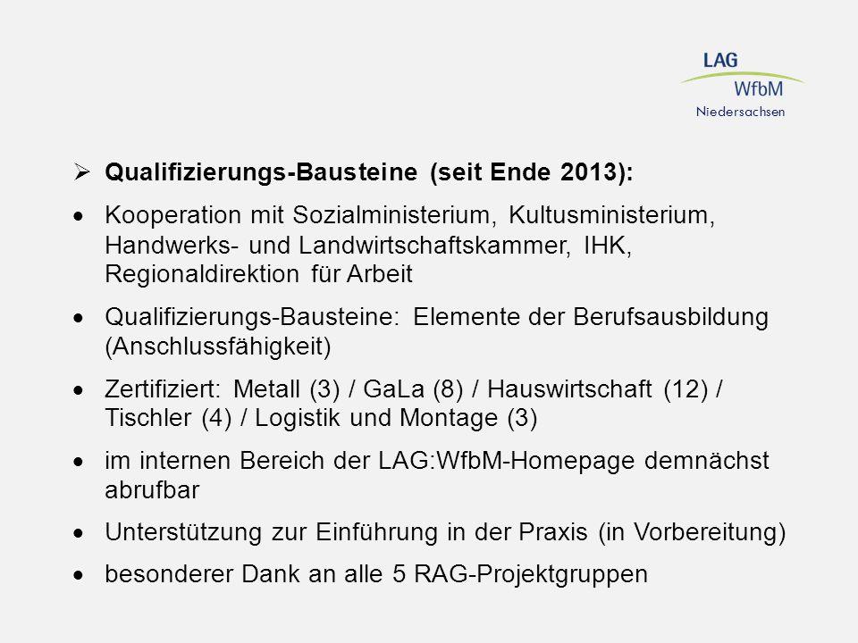 Qualifizierungs-Bausteine (seit Ende 2013):