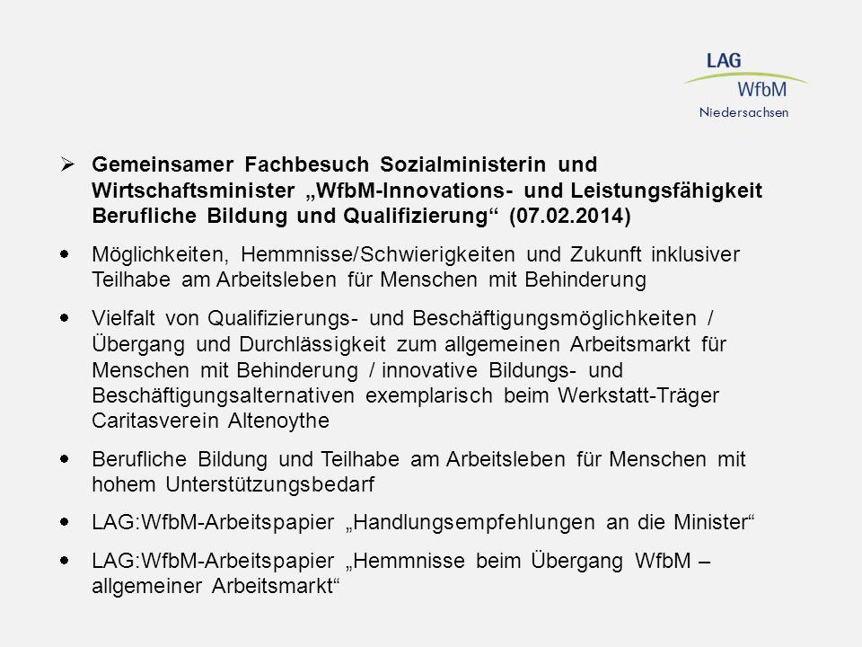 """LAG:WfbM-Arbeitspapier """"Handlungsempfehlungen an die Minister"""