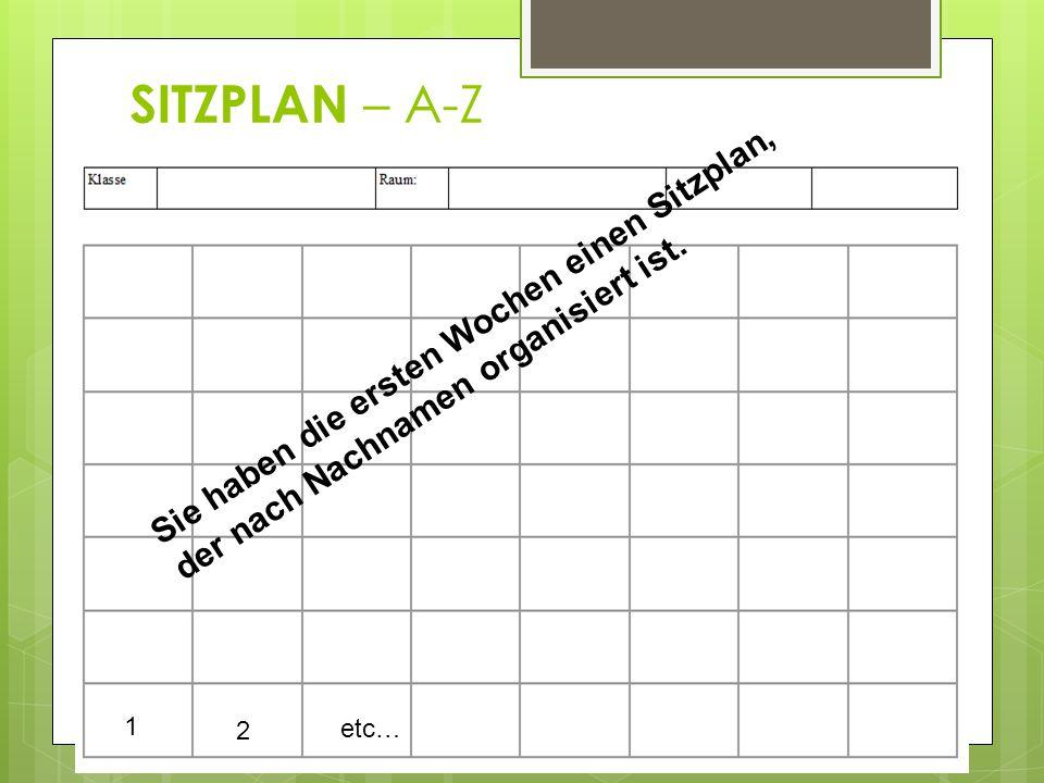 SITZPLAN – A-Z Sie haben die ersten Wochen einen Sitzplan, der nach Nachnamen organisiert ist. 1. 2.