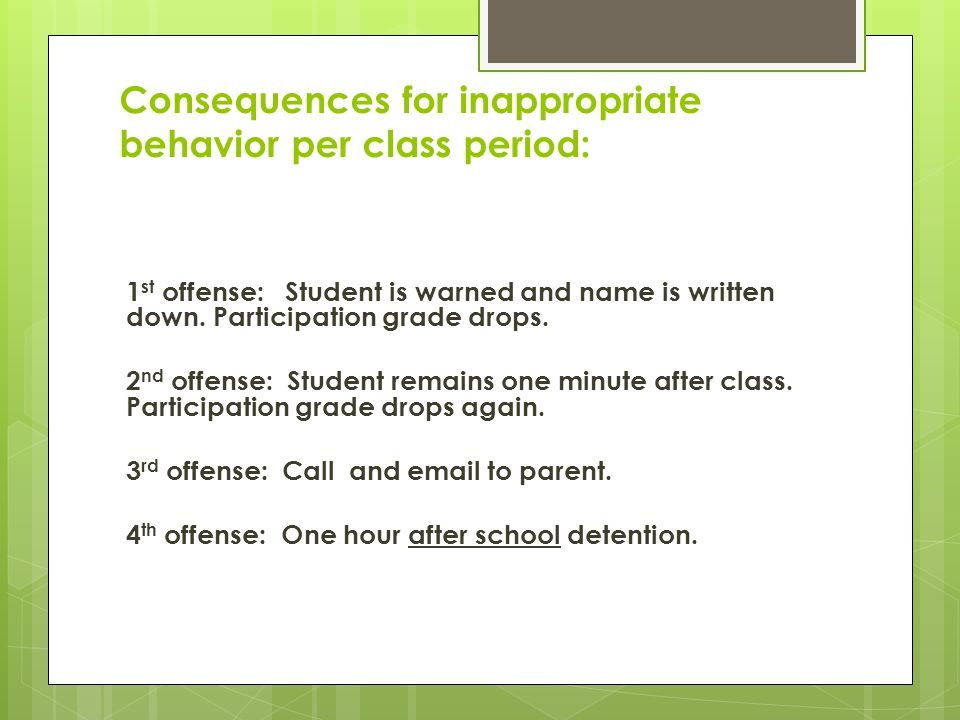 Consequences for inappropriate behavior per class period: