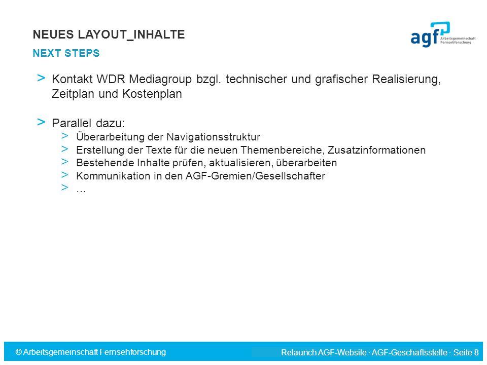 NEUES LAYOUT_INHALTE NEXT STEPS. Kontakt WDR Mediagroup bzgl. technischer und grafischer Realisierung, Zeitplan und Kostenplan.