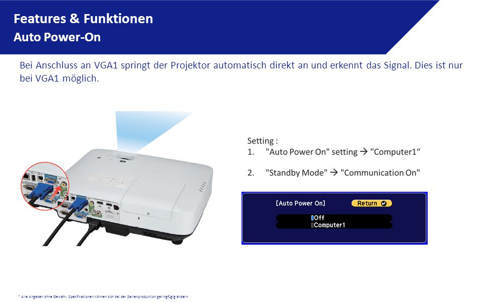 Features & Funktionen Auto Power-On