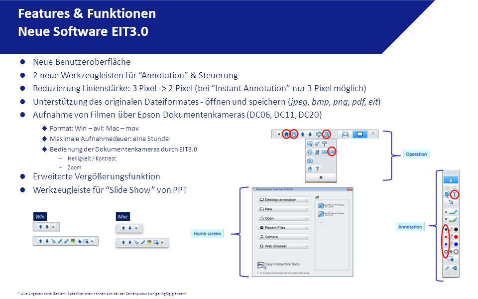 Features & Funktionen Neue Software EIT3.0