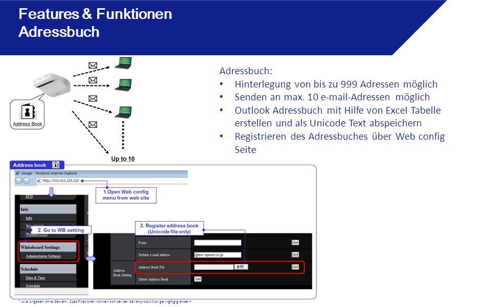 Features & Funktionen Adressbuch