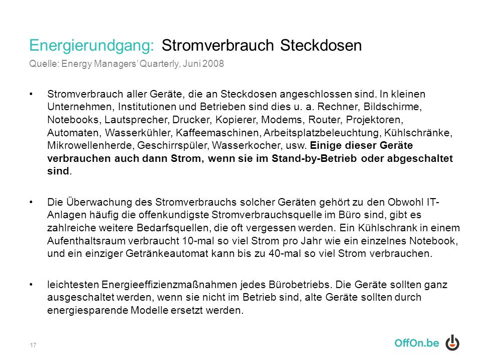 Energierundgang: Stromverbrauch Steckdosen