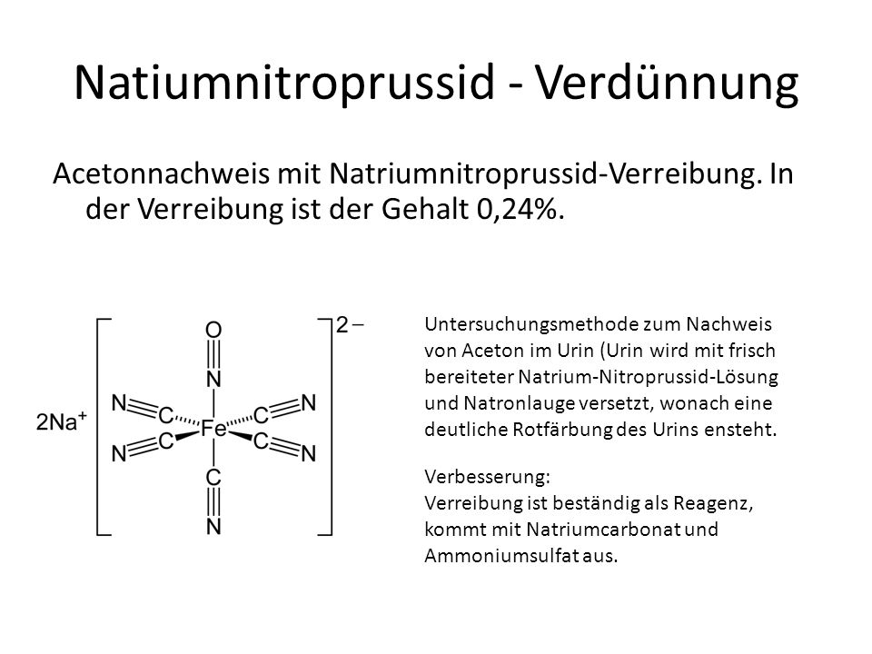 Natiumnitroprussid - Verdünnung